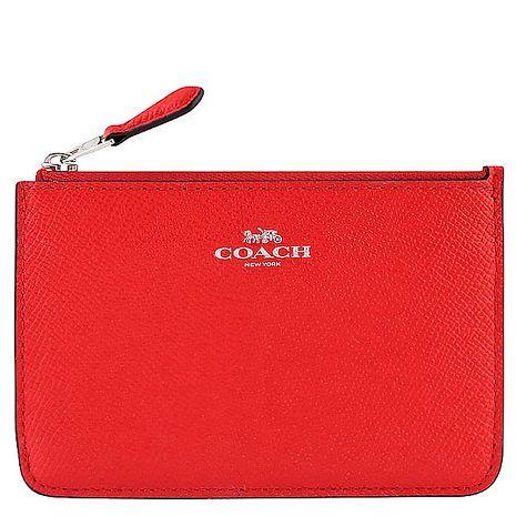 COACH 馬車防刮皮革鑰匙零錢包-紅色(特賣)