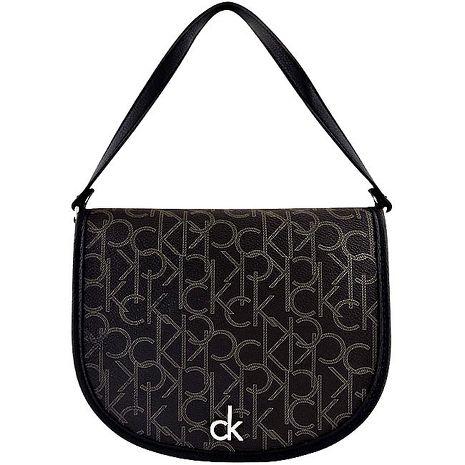 Calvin Klein LOGO PVC手提包-巧克力色(特賣)