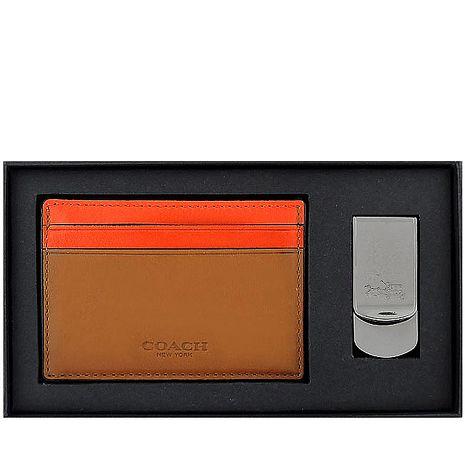 COACH 皮革壓紋名片夾/附鈔票夾-咖啡色(特賣)