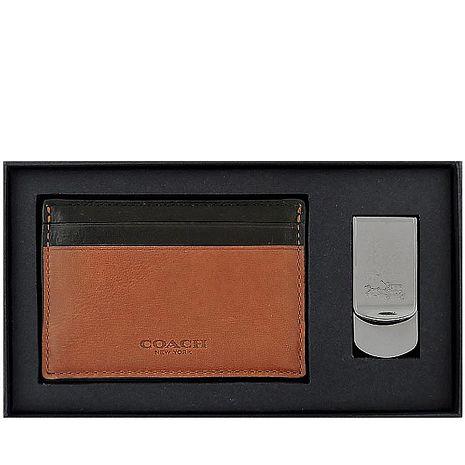 COACH 皮革壓紋名片夾/附鈔票夾-焦糖色(特賣)