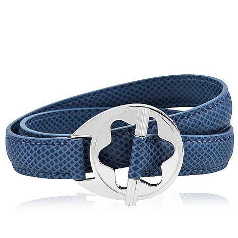 MONT BLANC 萬寶龍 六角星純銀雙環釦手環-藍色(特賣)