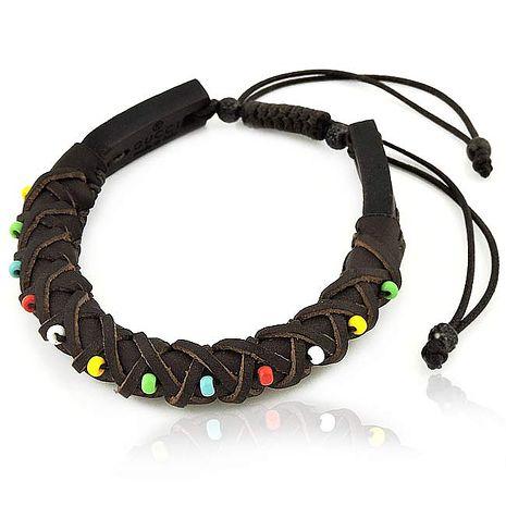 GUCCI 編織真皮綴五色彩珠手環-巧克力色(特賣)