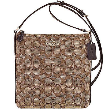 COACH 大C織紋斜背包-咖啡色(特賣)