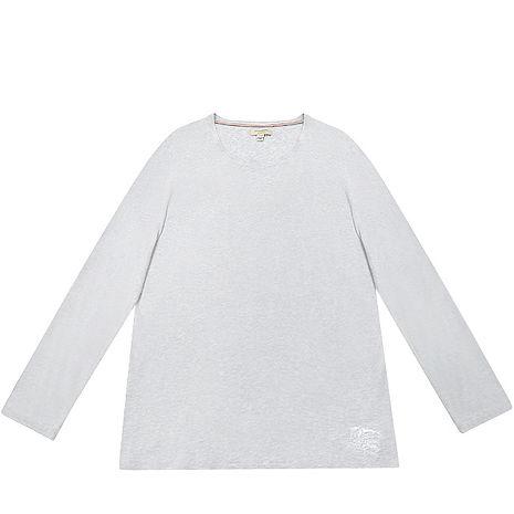 BURBERRY 灰色長袖棉質男性T恤-XL號(特賣)