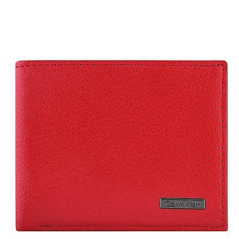 Calvin Klein 皮革壓紋雙摺短夾-紅色(特賣)