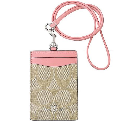 COACH 大C PVC識別證件夾-粉紅色(特賣)