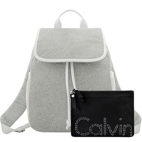 Calvin Klein LOGO 字樣輕量束口後背包/大型/附手拿包-淺灰色(特賣)