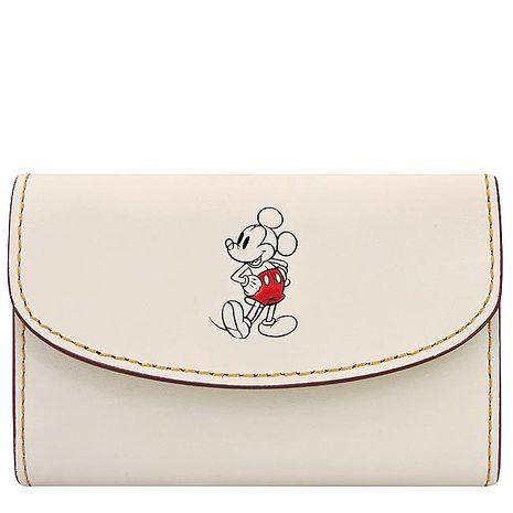 COACH Disney米奇烙印鑰匙收納包-白色(特賣)