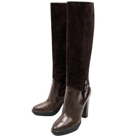 TODS 麂皮厚底時尚高跟長靴/巧克力色-40.5號(特賣)