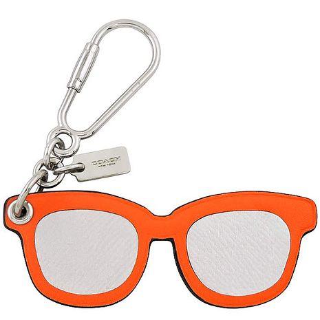 COACH 太陽眼鏡造型皮革鑰匙圈-橘色(特賣)