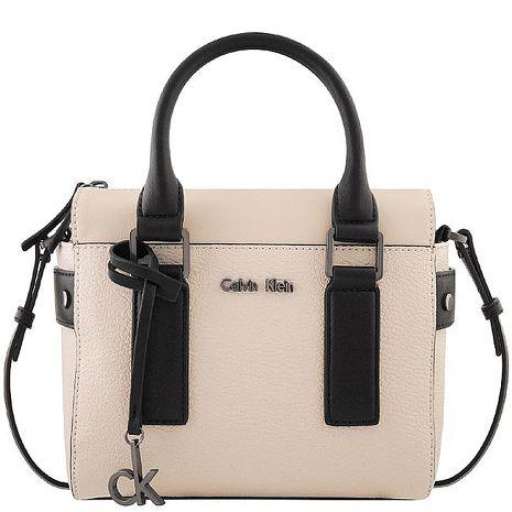 Calvin Klein 皮革壓紋斜背/醫生包-粉藕色(特賣)