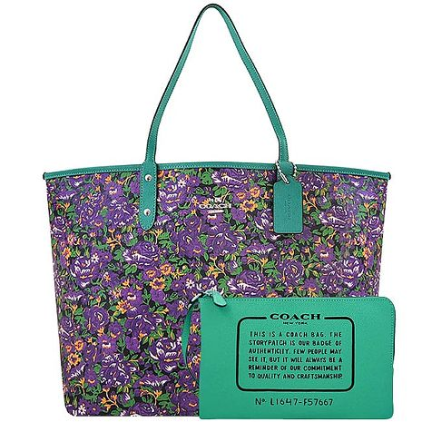 COACH 花朵圖樣PVC雙面托特包-大型/附手拿包-紫色(特賣)
