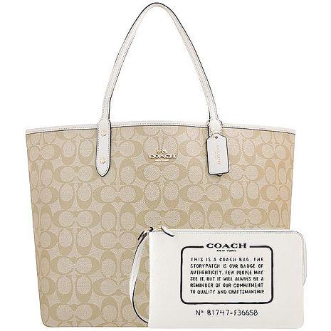 COACH 大C PVC雙面托特包-附大型手拿包/白色(特賣)