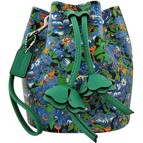 COACH 花朵圖樣水桶手提包-藍色(特賣)