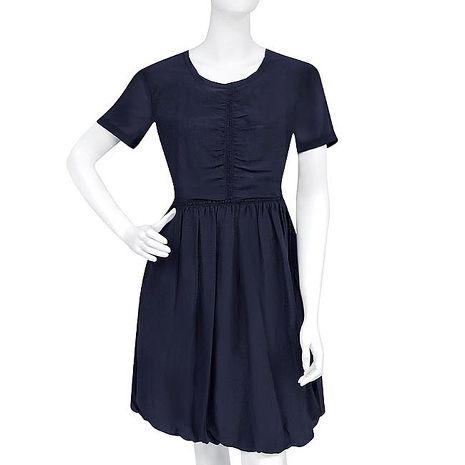BURBERRY 條紋短袖洋裝-US 8號(藏青色)