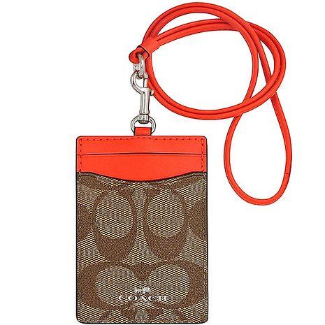 COACH 大C PVC識別證件夾-橘紅色