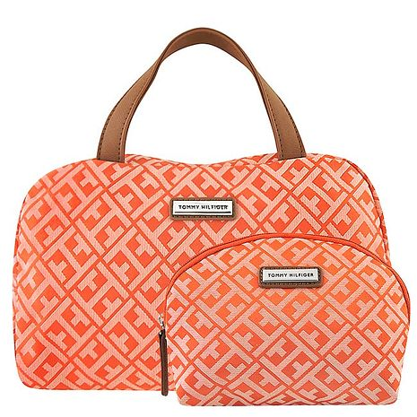 TOMMY LOGO織紋手提包-附化妝包(橘色)