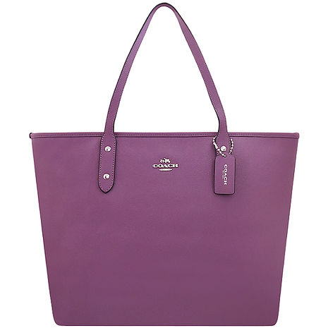 COACH 馬車防刮皮革托特包/大型-紫色