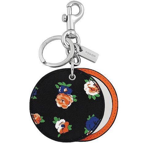 COACH 花朵圖樣PVC鏡子鑰匙圈-黑色