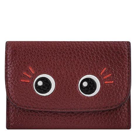 COACH 皮革證件名片短夾(酒紅色)