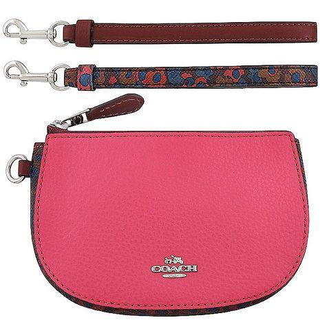 COACH 花朵圖樣彎月手拿包禮盒組-附雙提帶(粉紅)
