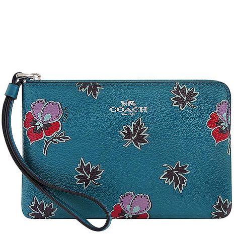 COACH 花朵圖樣PVC手拿包(孔雀藍)