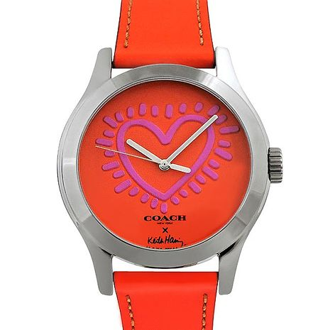 COACH Keith Haring真皮時尚腕錶(橘紅色)