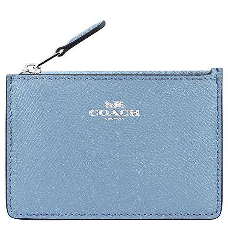 COACH 珠光防刮皮革鑰匙零錢包(天空藍色)