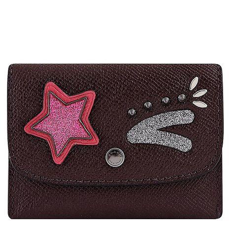 COACH 防刮皮革星星徽章鉚釘證件名片短夾(深咖啡色)