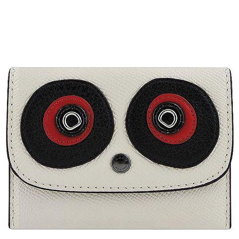 COACH 防刮皮革立體大眼睛貼飾證件名片短夾(白色)