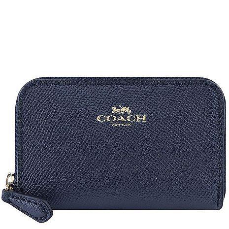 COACH 防刮皮革拉鍊名片夾/零錢包-星夜藍色
