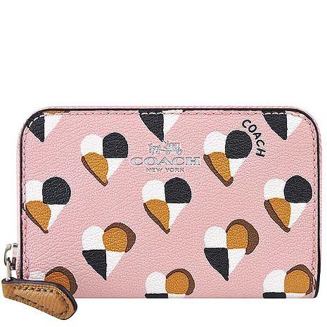 COACH 愛心PVC拉鍊名片夾/零錢包-櫻花粉色