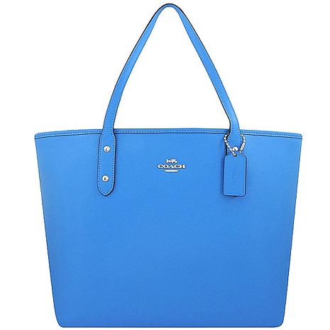 COACH 防刮皮革托特包/大型-水藍色