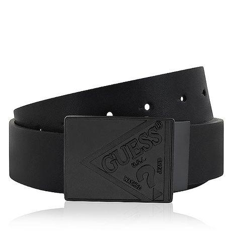 GUESS 皮革紳士皮帶-M/L號(黑色)
