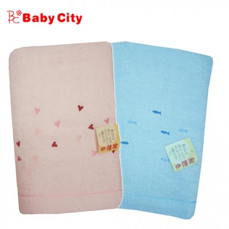 ***日本製造***娃娃城BabyCity-無撚紗寶寶浴巾(藍粉雙色可選)粉藍色