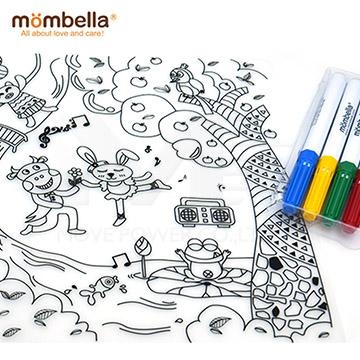 英國《mombella 》森林派對塗鴉矽膠餐墊(含四色塗鴉筆)
