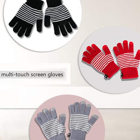 百搭保暖條紋風格 3TIPS 三指觸控手套 (三色)紅色