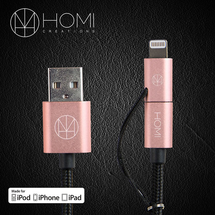 HOMI MFI蘋果認證 Lightning & Micro USB to USB Cable 傳輸充電線金色