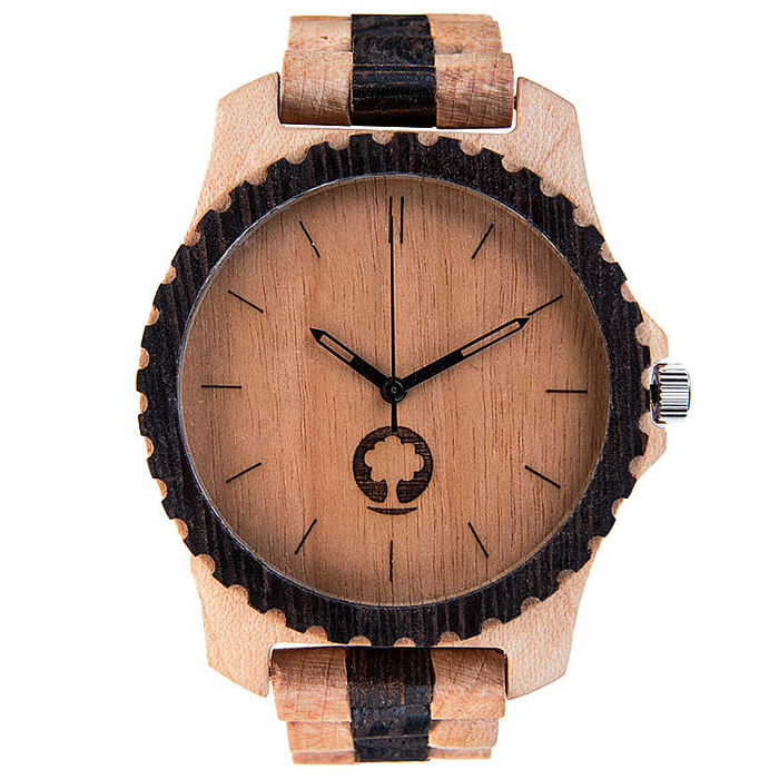Plantwear 手工實木手錶 Urban-黑白雙帶黑環錶/42mm