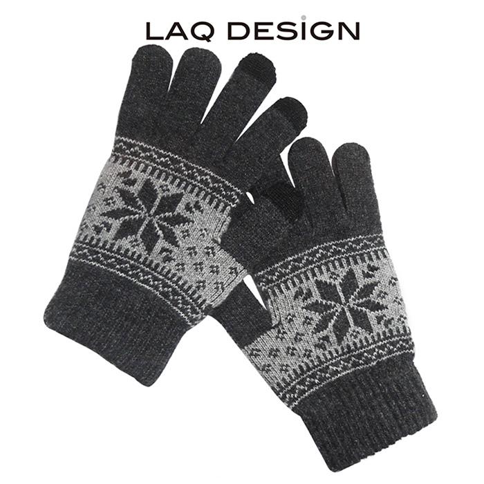 LAQ DESiGN 3TIPS 雪花圖案三指觸控手套 深灰
