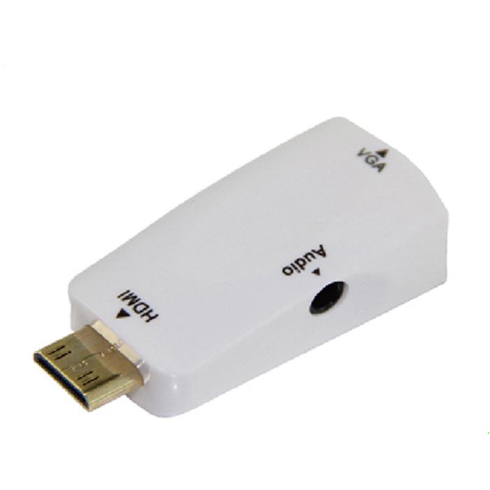 HDMI(公) to VGA(母) 白色鍍金轉接頭
