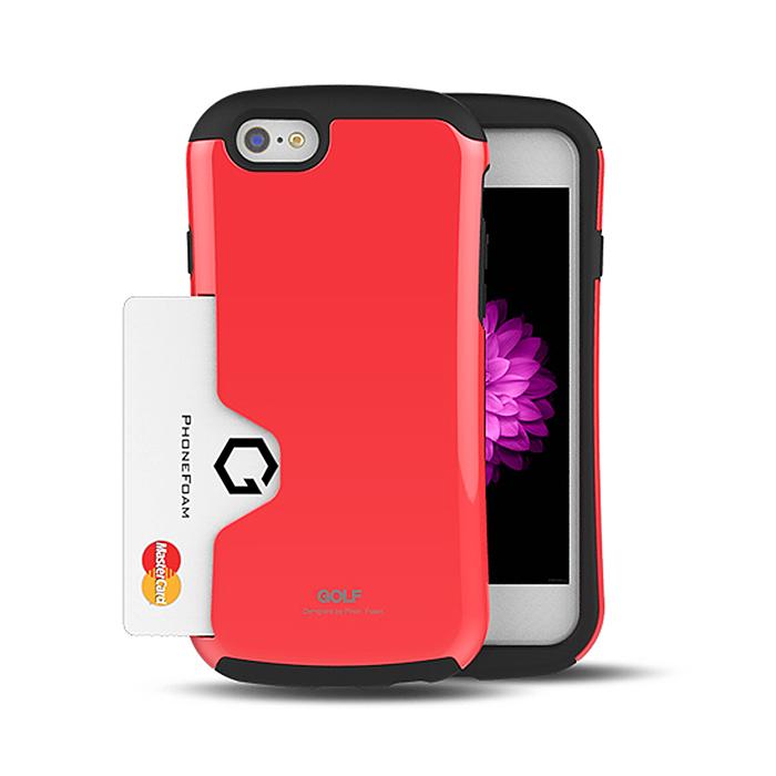 PhoneFoam Golf iPhone 6(4.7吋) 插卡式防震保護殼(紅)