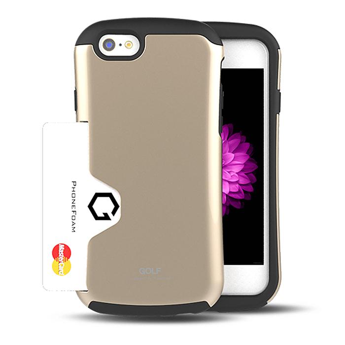 PhoneFoam Golf iPhone 6(4.7吋) 插卡式防震保護殼(金)