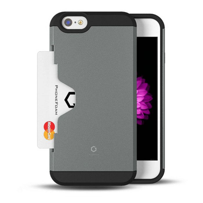 PhoneFoam Golf Fit iPhone 6 Plus(5.5吋)插卡式防震保護殼(銀)