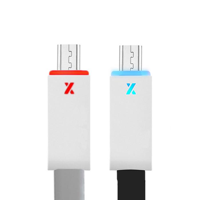 Micro USB LED發光偵測充電/傳輸線(1米)黑色