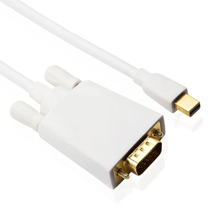 鍍金 Mini DisplayPort(公) to VGA(公) 轉換線(白)1.8米