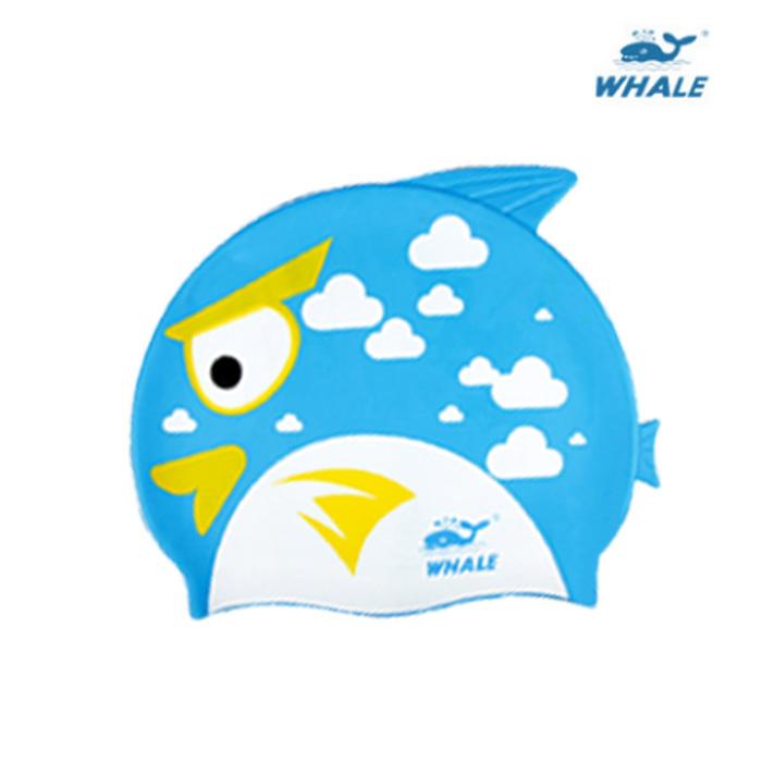 WHALE 可愛魚形防水矽膠兒童泳帽黃色