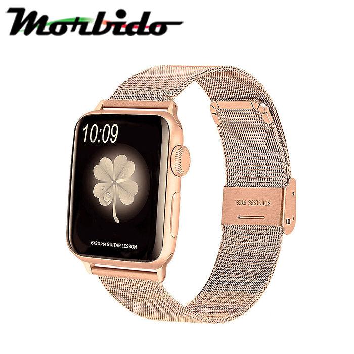 Morbido蒙彼多 Apple Watch 44mm不鏽鋼編織卡扣式錶帶
