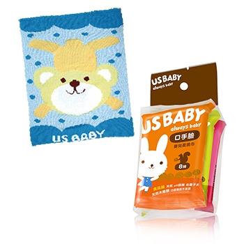 【優生】口手臉濕巾8抽3入8包+喜羊羊針織肚圍(藍)