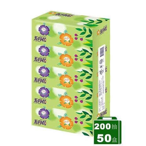 五月花 親肌感盒裝面紙 200抽x5盒x10串/箱